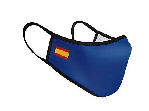 Mascarilla Higiénica de Tela Reutilizable - Bandera de España Azul