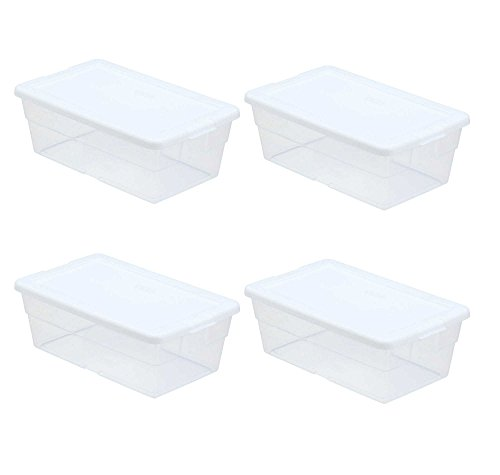 Sterilite Storage Box 13.5' X 8.3' X 4.8', 6 Qt. Clear - Pack of 4