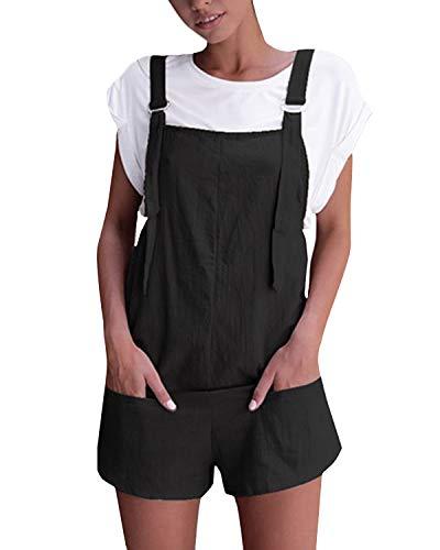 VONDA Damen Latzhose Retro Shorts Lässig Übergröße Jumpsuit Baggy Sommerhose Mit Tasche A-Schwarz M