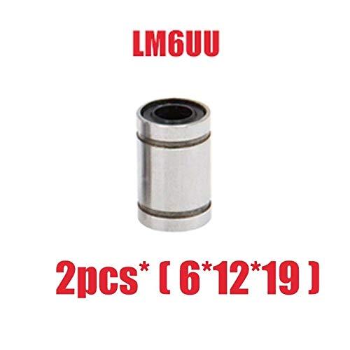 without SY-3DPJ, 2pcs LM6UU LM8UU Linear Bushing 8mm 3d Printer Parts Cnc Linear Bearings Linear Shaft (Size : LM6UU (6X12X19MM))
