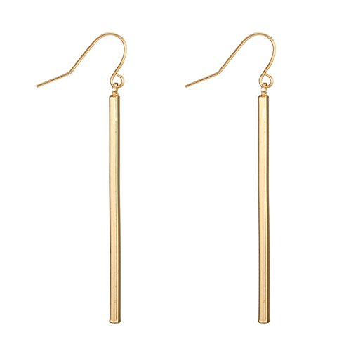 Dcfywl731 Punk Simple Style Gold/Silver Plated Lightning Long Exaggerated Square Geometric Stick Drop Dangle Earring for Women