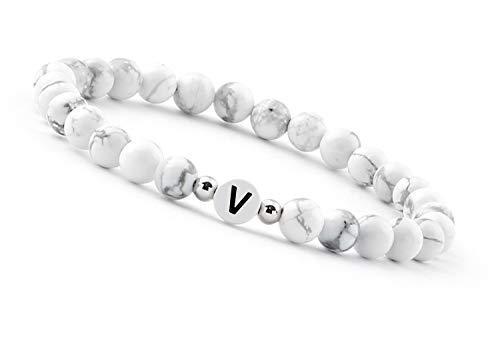 Good.Designs Bracciale Iniziale Bianco (bracciali con Lettere) Regali Uomo e Donna (Bracciale Amicizia) (V)