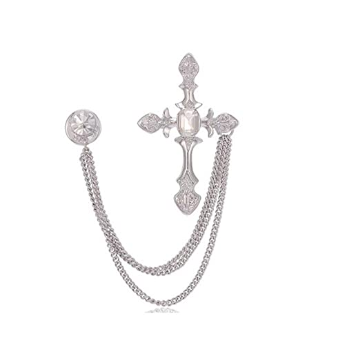 Moda Hombres Blanco Broche Barato Rhinestone Cross Sapel Pin Broach Vintage Mujeres Crystal Broches Femenino Bufanda Hijab Traje Joyería