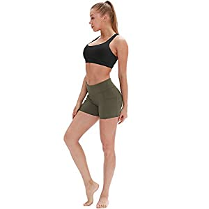 icyzone Sports Bras for Women - Activewear Strappy Padded Workout Yoga Tops Bra (M, Black)