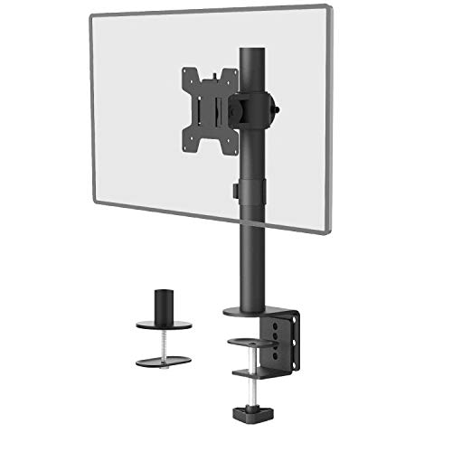 Single LCD Monitor Desk Mount Fully Adjustable Desk Mount Fit 1 Screen up to 27 inch, 22 lbs. Weight Capacity (M001S), Black by WALI