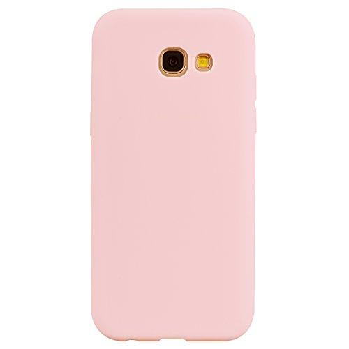 cuzz Funda para Samsung Galaxy A7(2017)+{Protector de Pantalla de Vidrio Templado} Carcasa Silicona Suave Gel Rasguño y Resistente Teléfono Móvil Cover-Rosa Claro