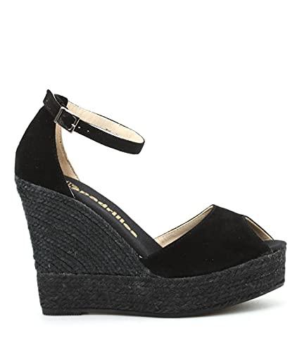 Espadrilles Zapatos de mujer negros con cuña de color Size: 39 EU