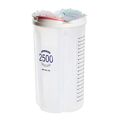 Fenteer Dispensador de Cereales Caja de Almacenamiento Contenedor de Grano de Comida de Cocina - 4 Rejillas 2500ml