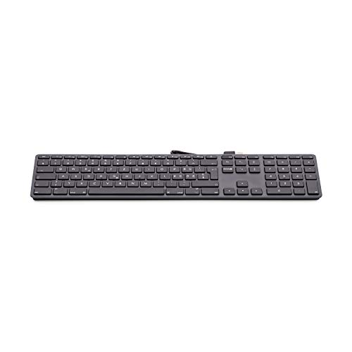 LMP USB Keyboard (UK) - 110 toetsen bedraad USB toetsenbord met 2x USB en aluminium bovenklep, KB-1243 - space grey