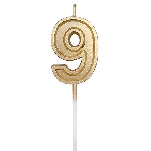 URAQT Velas De Cumpleaños Número, Velas De Cumpleaños Oro, Adecuado para Fiestas De Cumpleaños, Aniversarios De Bodas, Fiestas De Jubilación, 9