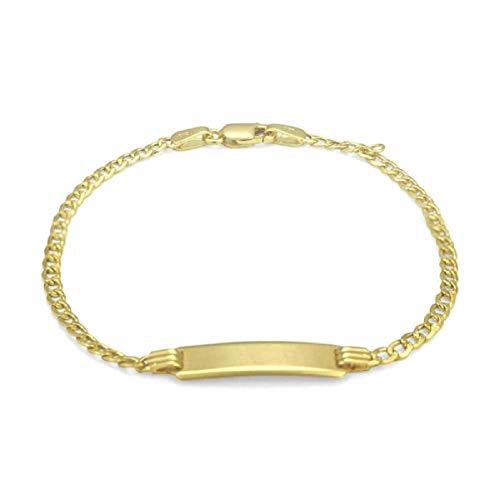 Pori Jewelers 10K Yellow Gold 2.3MM or 3.2MM Cuban Baby ID Bracelet - Lobster Lock Closure - 6' (3MM)