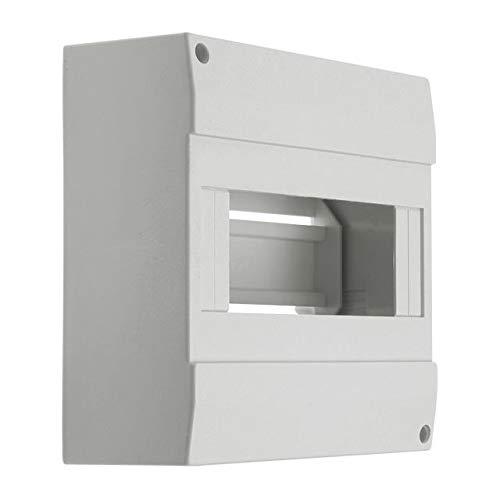 Sicherungskasten Kleinverteiler IP40 aufputz Unterverteilung 1-reihig 8 Module 1x8 einreihig mit DIN-Schiene Aufputzverteiler Verteilerkästen Aufbau Montage Verteilerbox