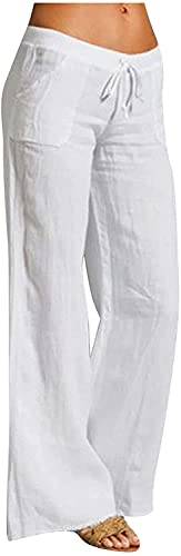 RUSHAIBAR Women's Cotton Linen Long Lounge Pants High Waist Drawstring Loose Fit Casual Trousers with Pockets White XL