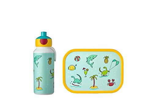 Mepal Pausenset Campus Doodle – Trinkflasche und Brotdose mit Bento-Einsatz – ideal für Schule und Freizeit – spülmaschinenfest, ABS, 400 ml + 4 butterbroten
