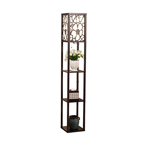 Staande lamp met Planken-Living Room Slaapkamer Storage Shelf Standing Light-Study LED leeslamp Home-vertoningsplanken Vertical Light DZE (Color : Black, Size : 26cm*26cm*160cm)
