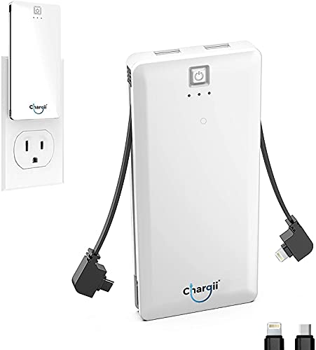 Chargii Portable Charger Built in Cable Compatible with Apple Wall Plug AC Adapter USB-C + 2 USB Ports, Compact External Powerbank Cell Phone Compatible with iPhone, Android Battery Charger, White