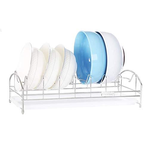 KFDQ Escurridor de platos de acero inoxidable Rejilla de secado multifunción Cocina Secadora Bandeja de secado Soporte para cubiertos Rejilla de secado de platos con bandeja de plástico para goteo