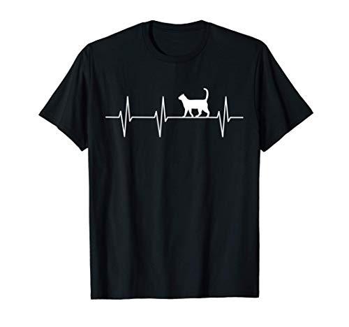 Katze Kätzchen Cat Haustier - Herzrhythmus T-Shirt