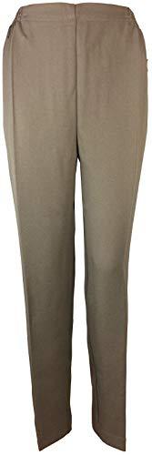 K-Milano Pantalon pour femme avec taille élastique, idéal pour les personnes âgées, les grands-mères, les pantalons à enfiler, les poches zippées sécurisées et les plis de repassage. - Beige - W38