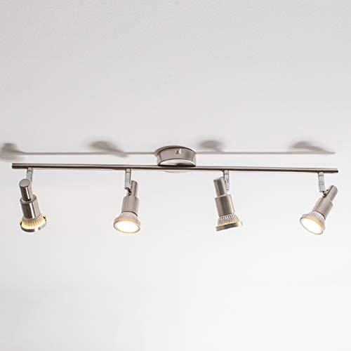 Lindby LED Deckenleuchte 'Aron' (Modern) in Alu aus Metall u.a. für Wohnzimmer & Esszimmer (4 flammig, GU10, A+, inkl. Leuchtmittel) - Lampe, LED-Deckenlampe, Deckenlampe, Wohnzimmerlampe
