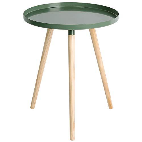 Kleine salontafel/massief hout hoek/smeedijzer Mini zijde, eenvoudige woonkamer Balkon, groen(44×44×50cm)