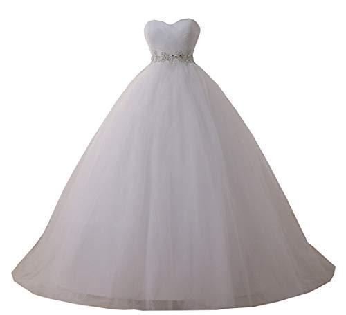 YIPEISHA Women's Sweetheart Tulle Ball Gowns Wedding Dress Beaded Corset Bridal Dresses 10 White