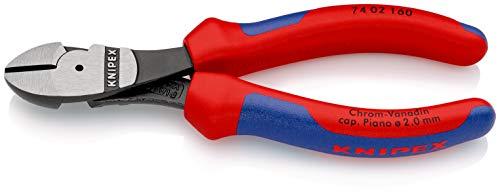KNIPEX 74 02 160 SB Kraft-Seitenschneider schwarz atramentiert mit Mehrkomponenten-Hüllen 160 mm (in SB-Verpackung)