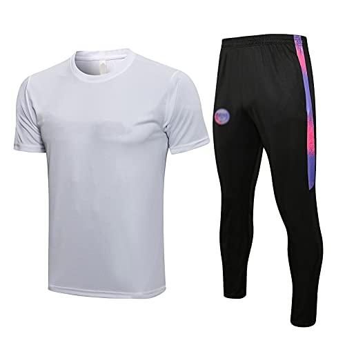oein Chándal de fútbol para hombre, camiseta y pantalones cortos, diseño de club de fútbol europeo, primavera y otoño, transpirable (color: blanco, talla XL)