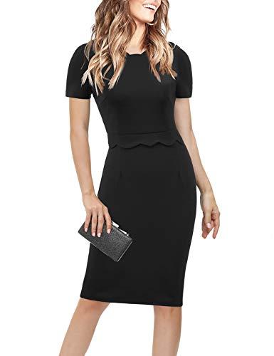 Waisted Scalloped Unique Design Office Business Pencil Midi Dress(Medium,Black)