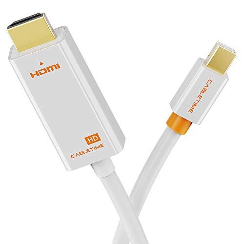 CABLETIME Mini DisplayPort to HDMI 変換 ケーブル 【フルHD1080P対応/1M/保証付き】 Surface Pro/Dock, Mac, MacBook Air/Pro, iMac, ディスプレイ, AV アダプタ対応 Thunderbolt to HDMI 耐久変換ケーブル Mini DP ミニディスプレイポート サンダーボルト (1m, 白)