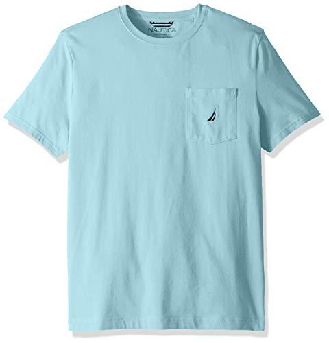 Nautica Camiseta masculina de gola redonda e bolso de manga curta, Bright Aqua Blue, X-Large
