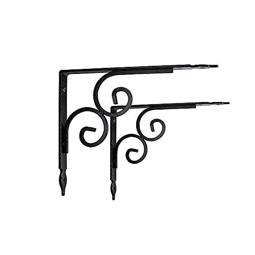 PLHMS Soporte de Estante de 29 cm, 2 Soportes de estantes flotantes de Pared de Hierro rústico, Soporte de estantería Decorativa para estanterías Abiertas de Bricolaje,24cm/9.4'