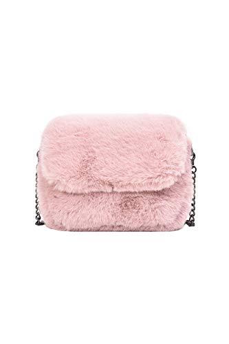 Ulisty Damen Herbst Winter Klein Kunstpelz Schultertasche Flauschige Quadratische Tasche Kettenriemen Umhängetasche Plüsch Handtasche Rosa