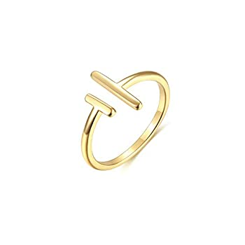 Valloey Rover Womens 14k Gold Starking Rings,Double X Criss Cross Open Bar Double Bar Parallel Cuff Half Circle Infinity Adjustable Ring Engagement Wedding Lady Girls Band