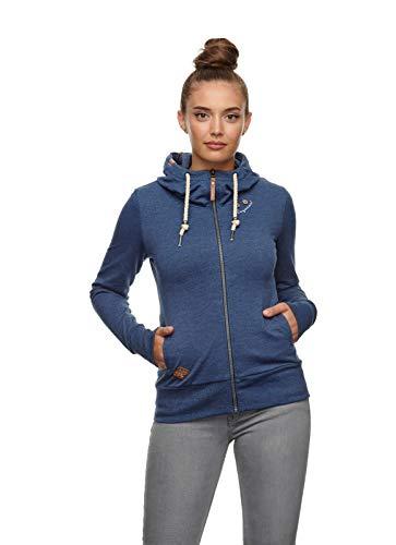 Ragwear Damen PAYA Sweatjacke, Frauen Sweatshirt mit Reißverschluss,Zip Hoodie,Kapuze,Stehkragen,Regular Fit,Blau,M