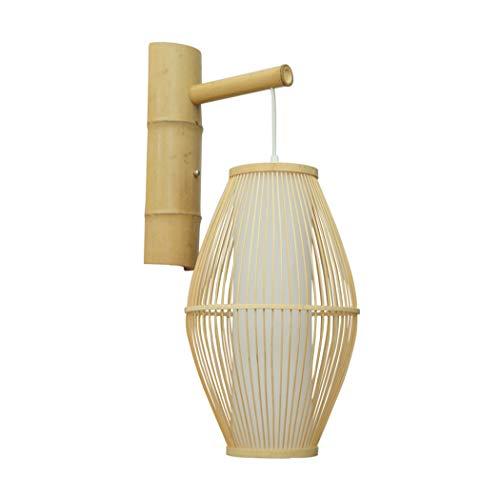 Aozu Aplique de Pared de ratán rústico Vintage lámpara de Pared de bambú Pantalla de Mimbre Sala de Estar Bar cafetería Comedor Pasillo Dormitorio Granja lámpara de Pared Interior,E27