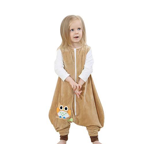 JooNeng Baby Unisex Fleece Sleeveless Sleep Bag with Feet Kids Cartoon Onesie Pajamas Wearable Blankets,Beige Owl S