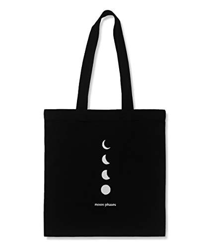 AR - Moon Phases Tote Bag negro de algodón con bordado, bolso de hombro resistente