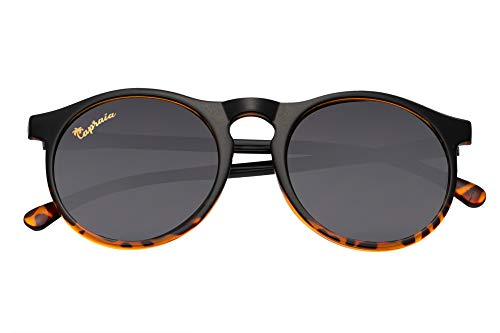 Capraia Arilla Clásicas Redondas Vintage Gafas de Sol Ultra Ligeras TR90 Montura Negro Gradiente a Tortuga y Lentes Oscuras Polarizadas protección UV400 Hombres Mujeres