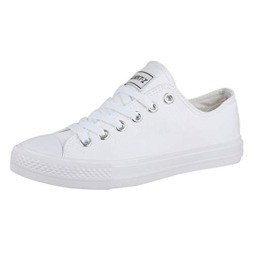 Elara Unisex Sneaker Low top Turnschuh Textil Chunkyrayan 36-46 01-A-AllWhite-36