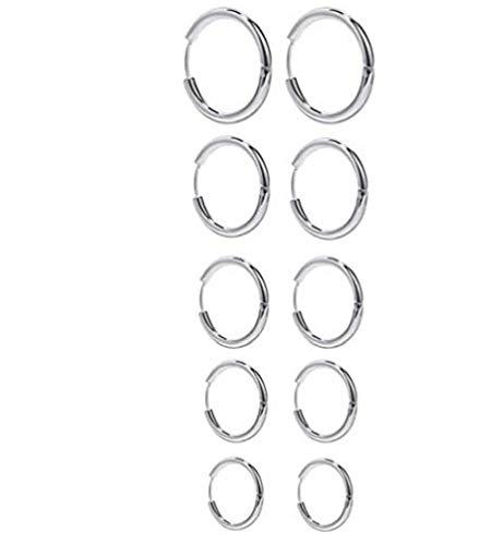 Pendientes de aro pendientes redondos del círculo de la plata del acero inoxidable para la mujer de la muchacha Hombres 5 pares