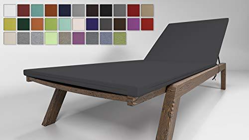 Rollmayer Sitzkissen für Sonnenliege Auflage Polster für Gartenliege Liegestuhl Strandliege Kollektion Vivid (Dunkel Grafit 61, 190x54x4cm - 1 Stück)
