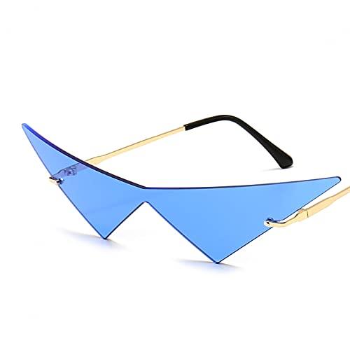 KFYOUXIN De Gran Tamaño Triángulo De Una Pieza De Las Mujeres Gafas De Sol Sin Llantas Transparente Océano Len Gafas De Moda Ojo De Gato Gafas De Sol