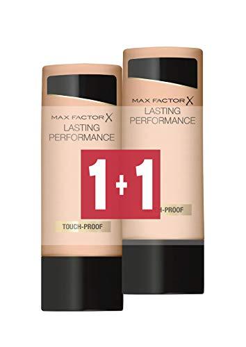 Max Factor Coppia di Fondotinta Liquido Lasting Performance, Alta Coprenza, Finish Matte e Lunga Durata, 111 Deep Beige