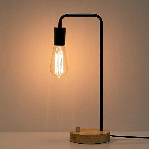 Lámpara de mesa industrial vintage con marco de metal y base de madera, lámpara de mesa Edison para dormitorio, sala de estar, dormitorio u oficina, color negro (sin bombilla)