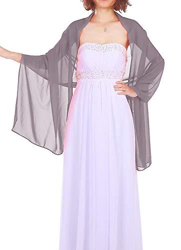 Dressystar Chiffon Stola Schal für Kleider Grau 160cm*50cm