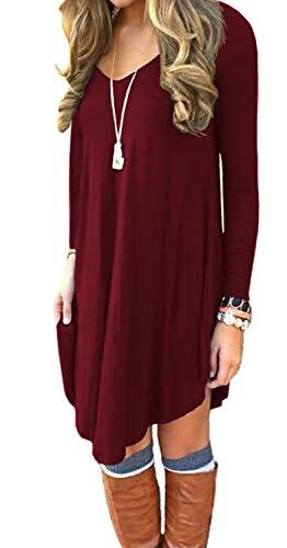 DEARCASE Women#039s Irregular Hem Long Sleeve Casual T Shirt Flowy Short Dress Wine Red XLarge