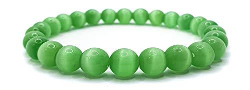 Pulsera elástica para hombre y mujer, con piedras preciosas naturales de 8 mm, para reiki, idea de regalo de cumpleaños, original difusor de energía para curar el equilibrio Occhio Di Gatto Verde