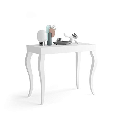 Mobili Fiver, Mesa Consola Extensible Classico, Blanco Mate, 45 x 90 x 76 cm, Made in Italy