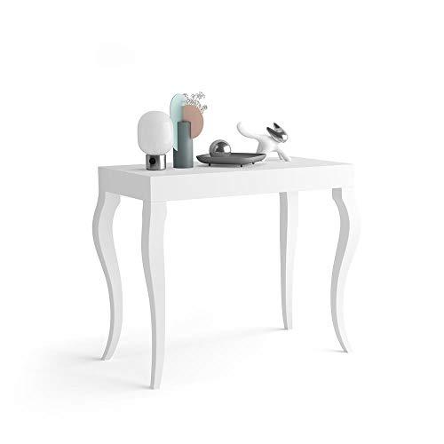 Mobili Fiver, Tavolo Consolle Allungabile, Modello Classico, Bianco Opaco, 45 x 90 x 76 cm, Nobilitato/Alluminio, Made in Italy, Disponibile in Vari Colori